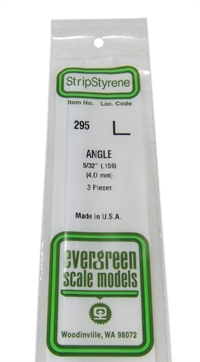"Evergreen Plastics EG295 5/32"" Right angle section 3 per pack"