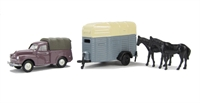 "Pocketbond ""Classix"" EM76520 Morris Minor Pick-up and single-axle horsebox with 2 horses"