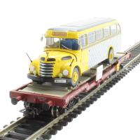 Liliput L235782 Flat Wagon OBB With Omnibus Graef+Stift Vers.2 . Era 5