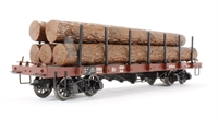 Liliput L95752 Flat Wagon with Stanchion & Loading Brown