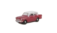 Oxford Diecast N105002 Ford Anglia in maroon & grey