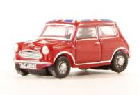 Oxford Diecast NMN001 Austin Mini in Tartan Red with Union Jack roof