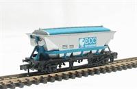 "Peco Products NR-305 CDA china clay hopper wagon in silver & blue ""ECC"" livery"