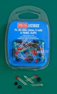 Peco Products PL-30 LEDs x 20 (10 red, 10 green, plus 20 panel clips)