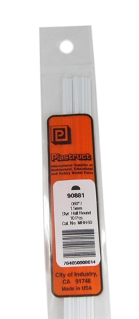 Plastruct MRH-60 90881  1.5MM Half Round Rod