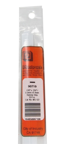Plastruct MS-122 90719 0.3x6.4mm Styrene Strip x10