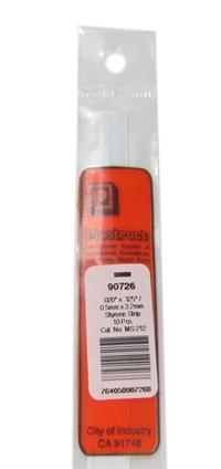 Plastruct MS-212 90726 0.5 x 3.2mm Styrene Strip x10