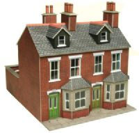 Metcalfe PO261 Pair of red brick terraced houses (Card Kit)