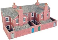 Metcalfe PO276 Low relief terrace house backs - red brick