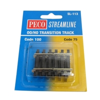 Peco Products SL-113 Transition track for converting code 75 to 100 for OO & HO gauge - Pack of 4