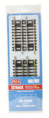 Peco Products ST-2002 Short Straight Track (ST-202 x 4)