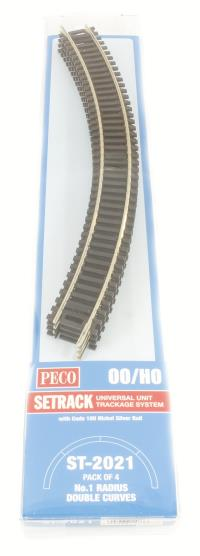Peco Products ST-2021 1st radius Double Curve Track (ST-221 x 4)
