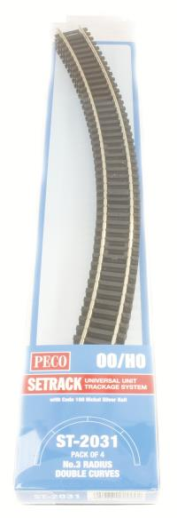 Peco Products ST-2031 3rd radius Double Curve Track (ST-231 x 4)