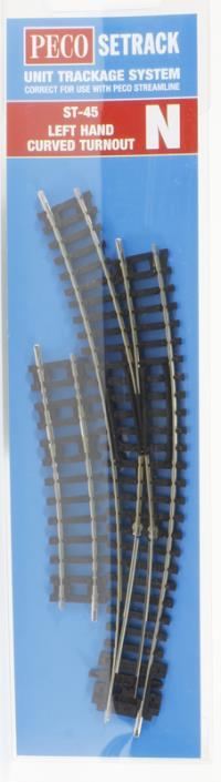 Peco Products ST-45 Setrack N Gauge Curved Turnout L/H