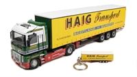 "Universal Hobbies J5641 Renault Magnum curtainside ""Haig Transport"" with keyring"