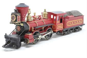 """1208R-PO01 2-4-0 Classic American Steam Locomotive """"J.W. Bowker"""" in Virginia & Truckee Railroad red - Pre-owned - noisy runner - replacement box"""