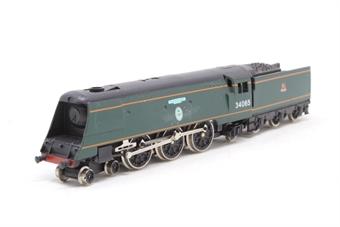 1525Farish-PO Battle of Britain Class 4-6-2 34065 'Hurricane' in BR Green - Pre-owned - Like new - imperfect box
