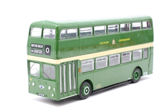 """18107-PO01 1960's XA type Leyland Atlantean d/deck bus in green """"Stockton Corp."""" - Pre-owned - Like new"""