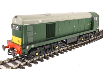 2010 Class 20 in BR green with small yellow panels and 4-character headcodes