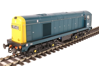 2012 Class 20 in BR blue with full yellow ends; pre-TOPS style with double arrows on the cabsides and 4-character headcodes