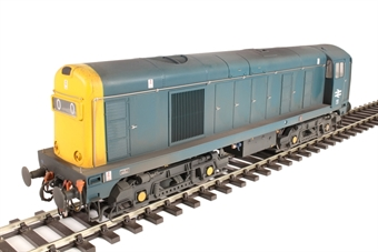 2014 Class 20 in BR blue with full yellow ends; TOPS style with double arrows on the cabsides and '0O00' headcodes - weathered