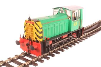 2595 Class 05 shunter in NCB National Coal Board green with red detailing and wasp stripes