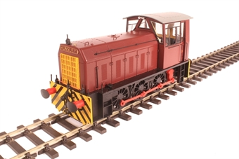 2596 Class 05 shunter in Industrial maroon livery with wasp stripes on bufferbeam