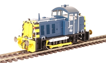 2910 Class 07 shunter 2993 in BR blue with wasp stripes and air brakes