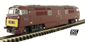 "2D-003-007D Class 52 diesel locomotive D1012 ""Western Firebrand"" in BR maroon with small yellow panels. DCC Fitted"
