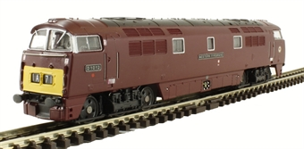 """2D-003-007 Class 52 D1012 """"Western Firebrand"""" in BR maroon with small yellow panels"""