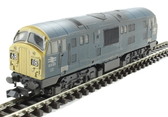 2D-012-012D Class 22 diesel locomotive D6330 in BR blue (TOPs font numbering) - weathered. DCC Fitted