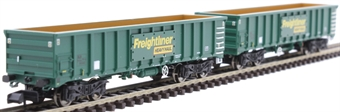 2F-025-001 MJA mineral & aggregates twin bogie box wagon 502003 and 502004 in Freightliner green