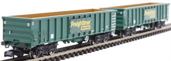 2F-025-002 MJA mineral & aggregates twin bogie box wagon 502017 and 502018 in Freightliner green