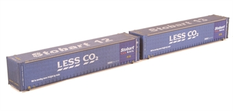 """2F-028-008 Pair of 45 foot curtain sided containers - """"Stobart Less Co2 Rail"""" - 450012-5 and 450013-0 - weathered"""
