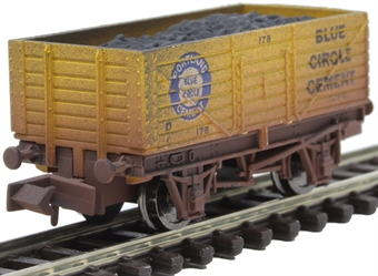 """2F-071-055 7-plank open wagon """"Blue Circle Cement"""" - weathered"""