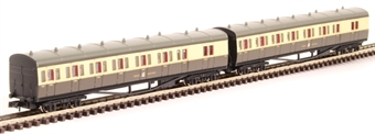2P-003-009 GWR B set 6453 and 6454 in GWR chocolate and cream with post-war crest