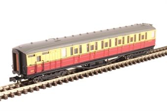 2P-011-253 ex-LNER Gresley teak brake composite in BR carmine and cream