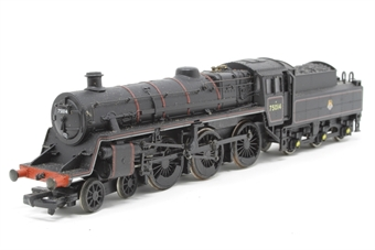 31-100-PO Standard Class 4MT 4-6-0 75014 with BR2 tender in BR black with early emblem - Pre-owned - sold as seen - missing connecting rod, wobbles when run