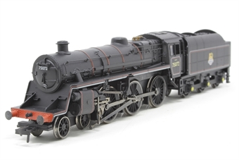 31-102A-PO07 Standard Class 4MT 4-6-0 75072 with BR1B tender in BR lined black with early emblem - Pre-owned - sold as seen - motor runns well but left-hand valve gear is damaged
