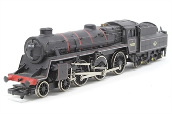 31-103-PO04 Standard Class 4MT 4-6-0 75020 with BR2 tender in BR lined black with late crest - Pre-owned - wobbly runner