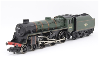 31-106-PO02 Standard Class 4MT 4-6-0 75029 'The Green Knight' with BR2 tender & double chimney in BR lined green with late crest - Pre-owned - noisy runner when running forward - imperfect box