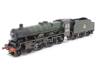 """31-175-PO06 Class 5XP Jubilee 4-6-0 45573 """"Newfoundland"""" in BR green with early emblem - Pre-owned - DCC Fitted & renumbered, Steps under front buffer beam loose or missing, glue marks on glazing and footplate, cab doors loose, missing coal load, imperfect box"""