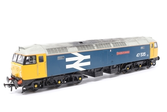 31-650-PO07 Class 47/4 47535 'University Of Leicester' in BR Blue with Large Logo - Pre-owned - weathered - detailed with etched nameplates- visible glue marks- imperfect box