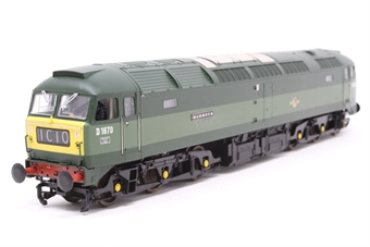 """31-650L-PO02 Class 47 D1670 """"Mammoth"""" in BR Two Tone Green livery. - Pre-owned - DCC Sound-fitted,  glue marks on body and glazing, missing some plazing parts, derails"""