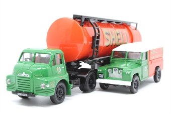 31005-PO02 'Shell/BP' Articulated Cylindrical Tanker and Land Rover Set - Pre-owned - Like new - imperfect box