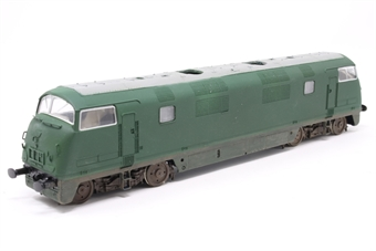 "32-057-PO02 Class 42 Warship in BR Green - Pre-owned - converted to P4 wheel set - repainted - unnumbered -  no fan grilles - weathered underframe - body loose on chassis - couplings and pockets removed - nameplates ""Caradoc"" provided but not attached, imperfect box"
