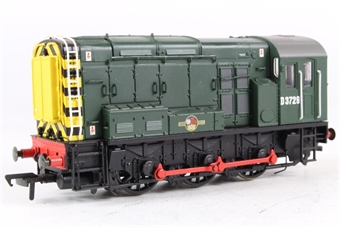 32-101 Class 08 Shunter D3729 in BR Green with Warning Stripes