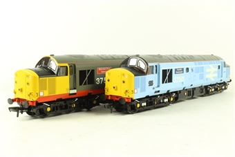 32-381T Class 37/5 Twinpack 37501 'Teeside Steelmaster' & 37502 'British Steel Teeside' - Rail Express Ltd Edn