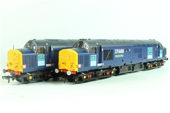 32-381U Class 37/5 Twinpack 37510 & 37688 'Kingmoor TMD' in DRS Oxford Blue Grey Livery with Snowploughs. Limited edition for Rail Express/Foresight Publications