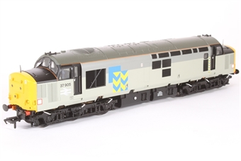 32-390ZA Class 37/9 37906 in Railfreight Grey Livery with Large Logo and Full Yellow Ends - For Kernow Model Rail Centre